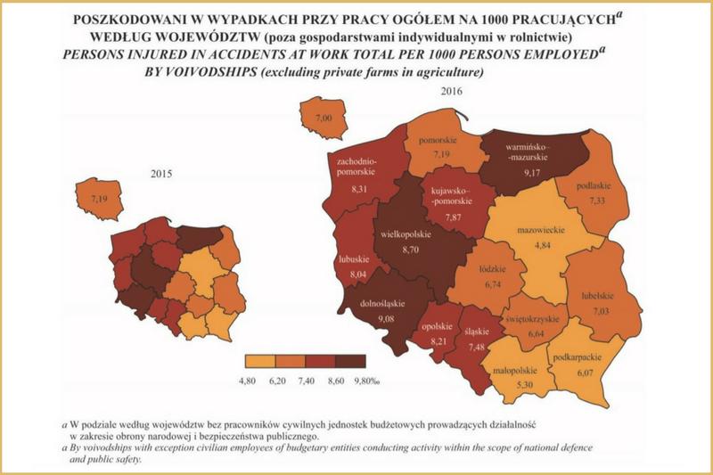 Mapa wskaźnika wypadków przy pracy w2016 r. zpodziałem nawojewództwa