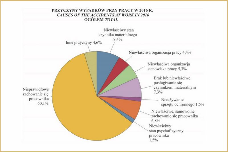 Diagram procentowy przyczyn wypadków przy pracy w2016 r.
