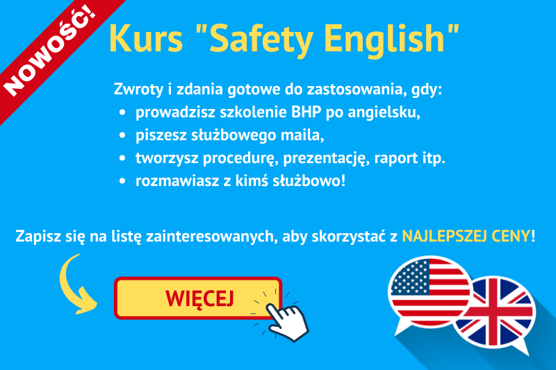 Kurs Safety English - baner zlinkiem dozapisu dla osób zainteresowanych