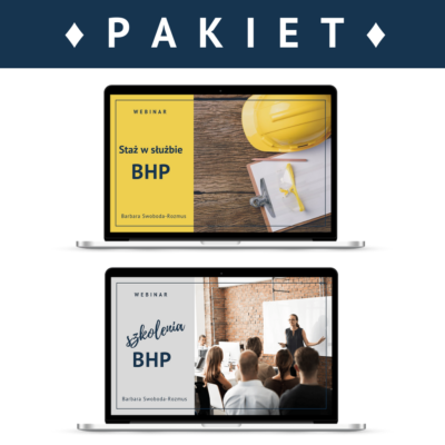 """Pakiet 2 webinarów: """"Staż pracy w służbie BHP"""" + """"Szkolenia BHP"""""""