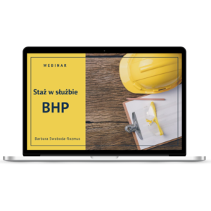 """""""Staż w służbie BHP"""" webinar wyświetlony na monitorze"""