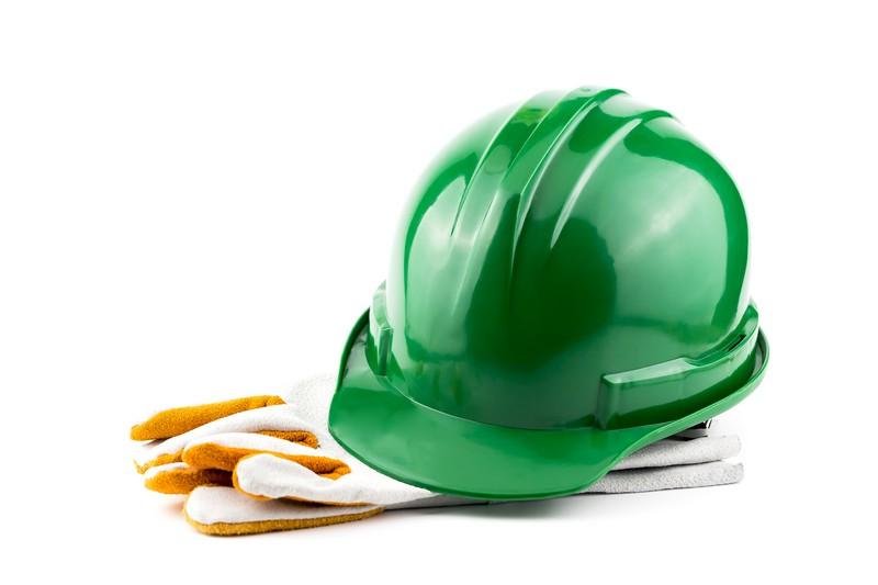 Nazwy stanowisk astaż pracy wsłużbie BHP - zielony hełm ochronny irękawice