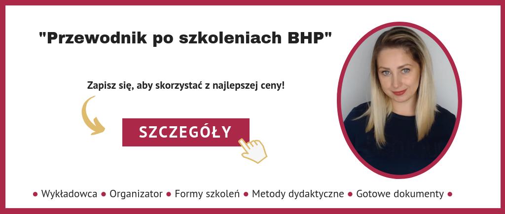 Przewodnik poszkoleniach BHP - baner zinformacją ilinkiem dozapisu nalistę zainteresowanych