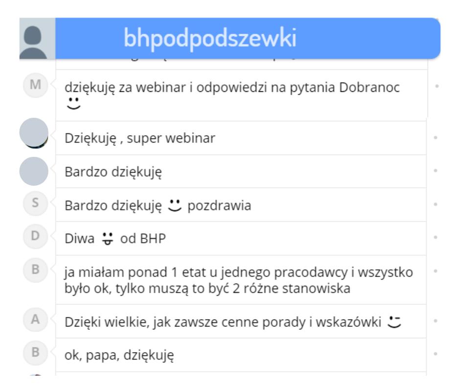 Webinar Kontrola PIP i PIS - wycinek czatu z podziękowaniami
