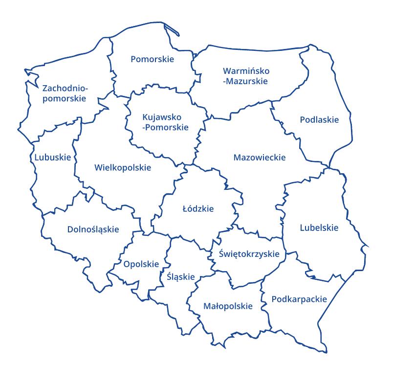 koronawirus - mapa Polski zwojewództwami