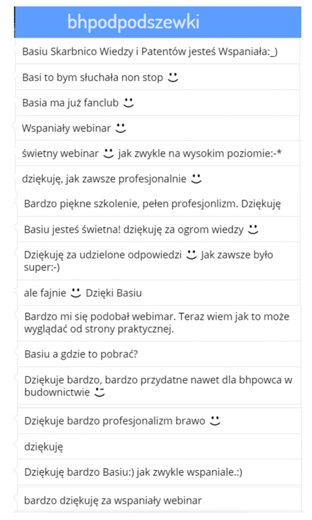 """Opinie z czatu przesłane przez uczestników webinaru """"Jak ogarnąć podwykonawców"""""""