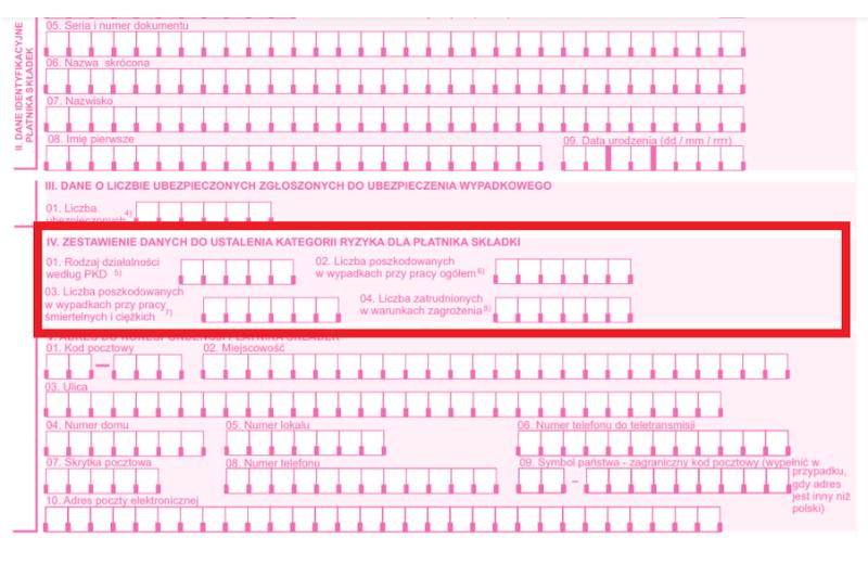 Jak podać dane owypadkach izagrożeniach doZUS IWA - fragment druku ZUS IWA
